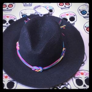 Accessories - Rainbow knot brim cute black sun hat